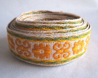 """vintage fabric scroll trim in mustard yellow and sage green 1 3/8"""" wide 4 yards sale"""