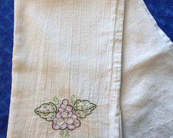 Made to Order Flour Sack Towel Embroidered Fruit Grapes