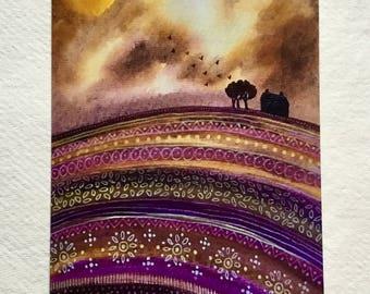 Autumn Skies, blank greetings card