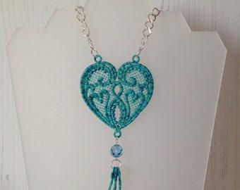 Lace Heart Swarovski Pendant