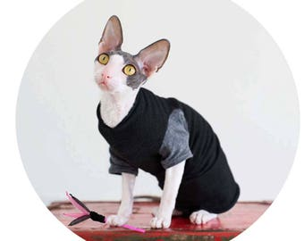 Sphynx Cat Clothes, design your own shirt for your cat! Black Tee shirt with short or long sleeve color choices.