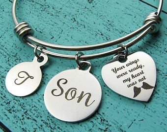 loss of Son memorial gift. your wings were ready bracelet, remembrance gift, in loving memory of Son, sympathy gift loss of loved one Son