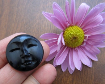 20 mm  Resting Moon Cabochon with Closed Eyes, Buffalo Horn Carving, Flat Back ,  Jewelry making Supplies S6470