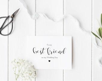 To My Best Friend On My Wedding Day Card, Best Friend Card, Elegant Script Wedding Day Card