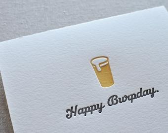 Happy Burpday Letterpress Birthday Card & Envelope