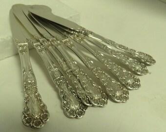8 Antique Sterling Silver Butter Cup Gorham Monogrammed Butter Knives / 8