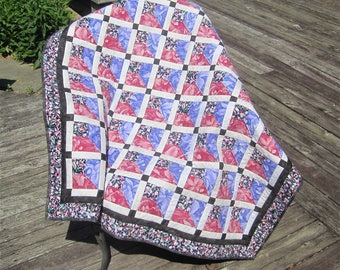 """Small Patchwork Quilt """"Red and Blue Orchids"""" Orchid Quilt, Floral Quilt, Lap Throw, Wheelchair Throw, Quilted Blanket, Quiltsy Handmade"""