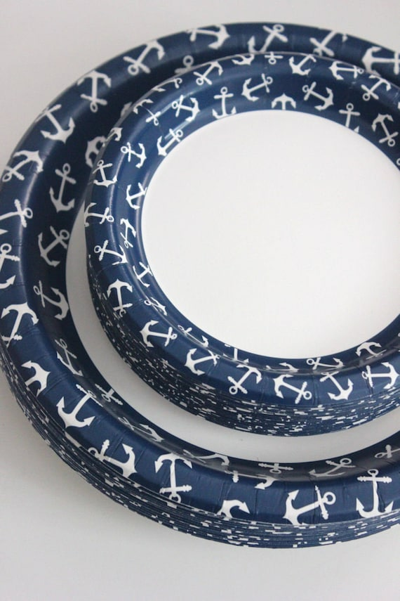 8 ANCHOR NAUTICAL Small Paper Plates Navy Blue Beach Wedding Ocean Seashore Bridal Shower Birthday Party Decoration Dessert Cake Tableware from ... & 8 ANCHOR NAUTICAL Small Paper Plates Navy Blue Beach Wedding Ocean ...