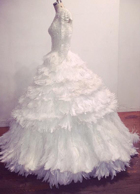 Irina Shabayeva Feather Ballskirt with beaded lace top .