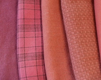 Mango - Coral - Salmon - Peach - Hand Dyed Felted Wool in a Beautiful Collection Perfect Rug Hooking and Applique Wool