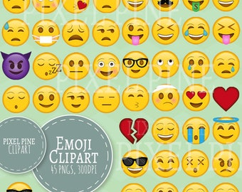 Emoji Clipart, Smiley Faces clipart 45 PNGs, Yellow Smileys Clipart Commercial Use, Emoji Collection Clipart, Clip art emojis, faces pngs