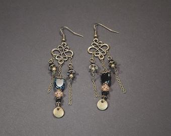 Dangling earrings made of black glass beads Blue/Pink salmon, baroque, Bohemian, handmade, unique