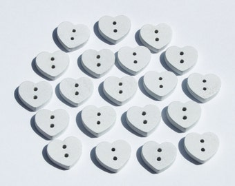20 White Wooden Heart Shaped Buttons painted 15mm 2 holes