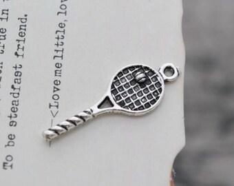 10 antique silver tennis racket charms charm tennis racquet pendant pendants   (HJ04)