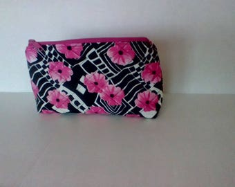 Black and Pink Floral Quilted Zipper Pouch