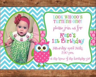 Girl Photo Invitation Owl Chevron Birthday Party - Can personalize colors /wording - Printable File or Printed Cards