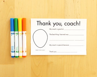 Thank You Card for Coach - Gift for Coach Sports Thank You - Coach Appreciation Personalized Gift - Team Gifts Printable Coaches Gift