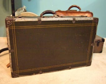 W Gottlich Co Dallas Metal Suitcase Small Trunk  luggage box with reinforced edges and Leather handle