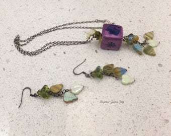 Pendant & Earrings, Blooming in the Square, Ceramic, Glass