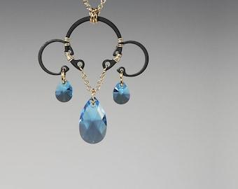 Aquamarine Swarovski Crystal Pendant, Industrial Jewelry, Swarovski Necklace, Statement Jewelry, Aqua Crystals, Drop Pendant, Europa  v4