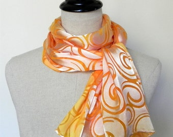 Long hand dyed silk scarf in golden yellow and orange Devore satin silk scarf is Ready to Ship
