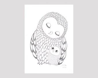 Owl Nursery Decor Print Black & White Nursery Art Woodland Nursery Owl Ink Drawing Print Baby Animal Nursery Illustration Print Cute Owls