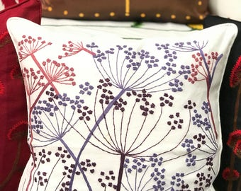 Hand Embroidery Cushion Cover Ageratum Conyzoides