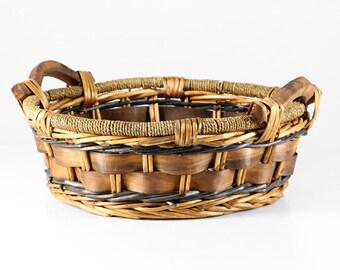 Large vintage basket, wicker work basket, basket with handles, deco firewood basket, wood deco basket
