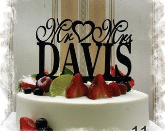 Cake Topper for Wedding ,Wedding Cake Topper, Customized Wedding Cake Topper, Personalized Last Name Cake Topper, Mr and Mrs Cake Topper #11
