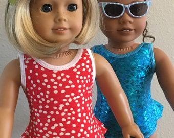 """Retro Swim Suit for 18"""" Doll - Red/White Dots"""