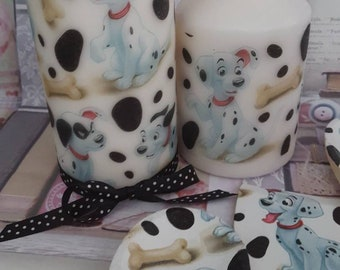 101 Dalmation Themed Set Of Two Decorative Candles