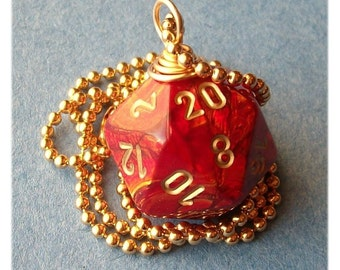 D20 Dice Pendant - Scarab Scarlet - Red Gold Geek Gamer DnD Role Playing RPG