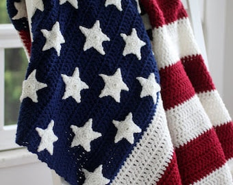Patriotic American Flag Afghan,traditional Red,Off White & Blue