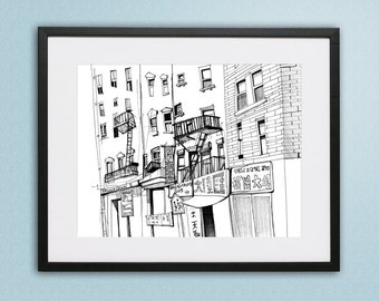 New York City, NYC, Downtown, Chinatown, Ink Illustration