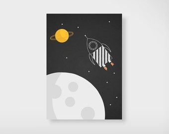 Space Rocket Postcard