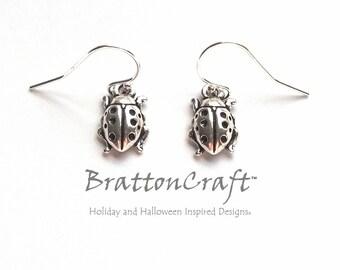 Silver Ladybug Earrings - Ladybug Earrings - Ladybug Jewelry - Insect Earrings - Insect Jewelry
