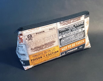 Poison Labels Zippered Pouch / Small Black and Orange Vintage Apothecary Makeup Bag / Doctor Pharmacist Nurse RX Cosmetic Bag