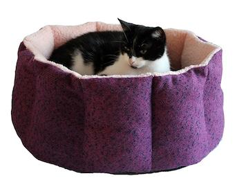 Woolen designer cat bed, dog cat basket, dog bed, cat bed, VIOLET , feather cushion, cat furniture, cat beds, kuxury cat bed, round cat bed