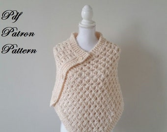 Pdf knitting pattern, owner knitting, poncho shawl, model knitting for child and adult, winter clothes, handmade knitwear