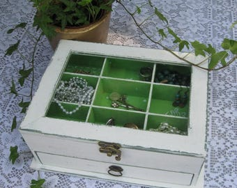 Cream Shabby Chic Home Decor Wooden Jewelry Box