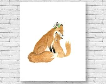 I love you little one, Watercolor FOX, Woodland Nursery Art, Set of Prints, Animal Paintings, Animal print set, Kids posters, woodland,