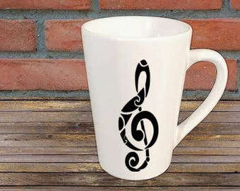 Treble Clef Music Mug Coffee Cup Gift Home Decor Kitchen Bar Gift for Her Him Any Color Personalized Custom Jenuine Crafts