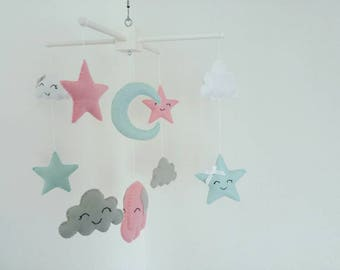 Stars, clouds and moon nursery mobile - very cute, Handmade, made to order