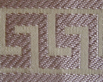 GREEK KEY tape braid border flat trim 2.65 inch heather on tan