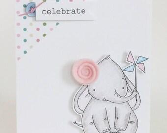 Digital stamp -Birthday elephant.  digital stamp. Birthday digi stamp. Cute digital stamp.elephant digital stamp. LiaStampz
