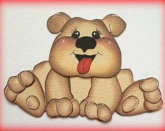 bulldog puppy dog kids best friend premade paper piecing 3d die cut by my tear bears kira