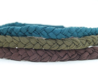 Eco Friendly Braided Headband - Boho Chic - Spruce Olive Brown - Earth Tones - Upcycled - Organic Clothing