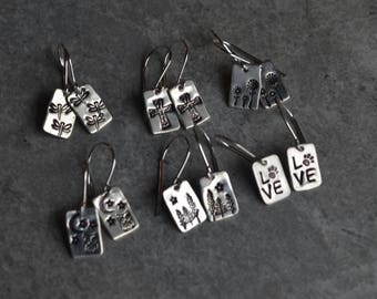 sterling silver dangle wire earrings