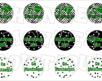 Peace Love Mustangs with green writing bottlecap image sheet - school mascot