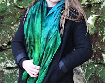 Green and Blue Tassled Nuno Felted Scarf